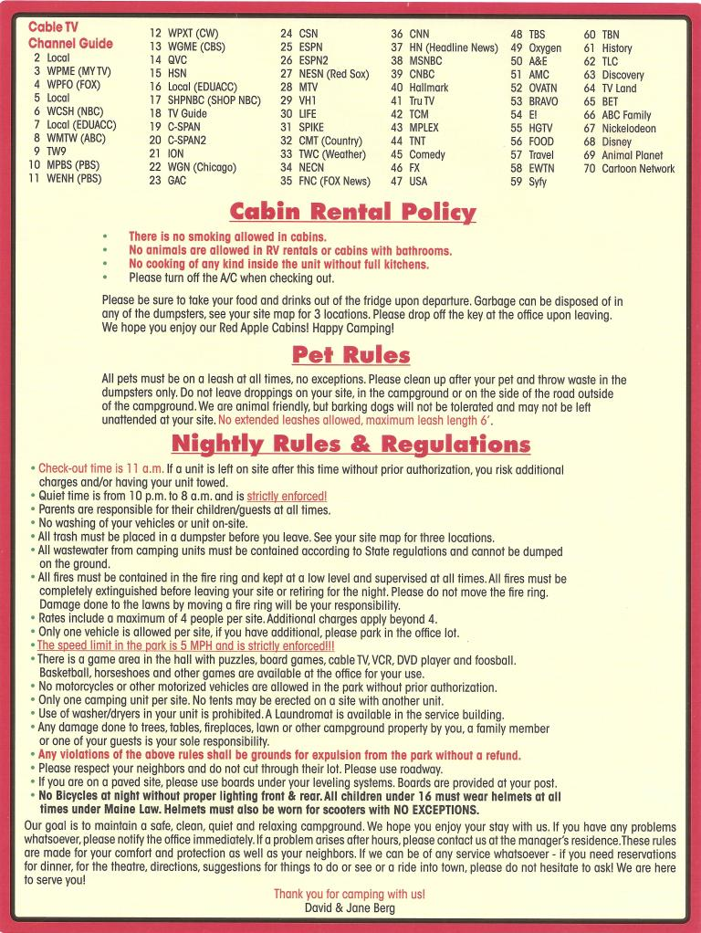 Red Apple Campground Cable Channels, Cabin Rental Policy